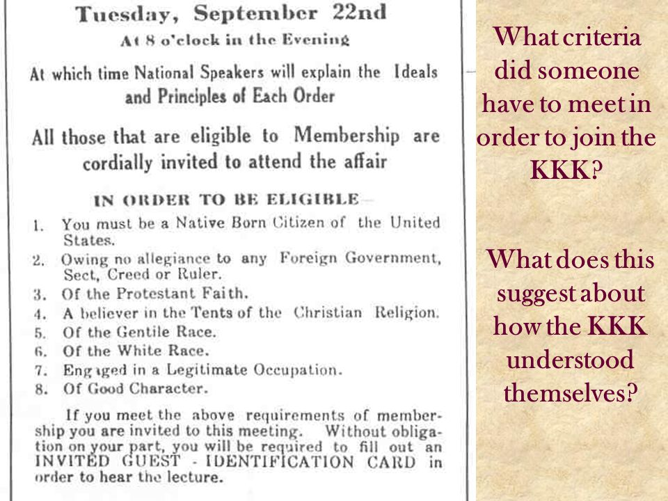 What criteria did someone have to meet in order to join the KKK
