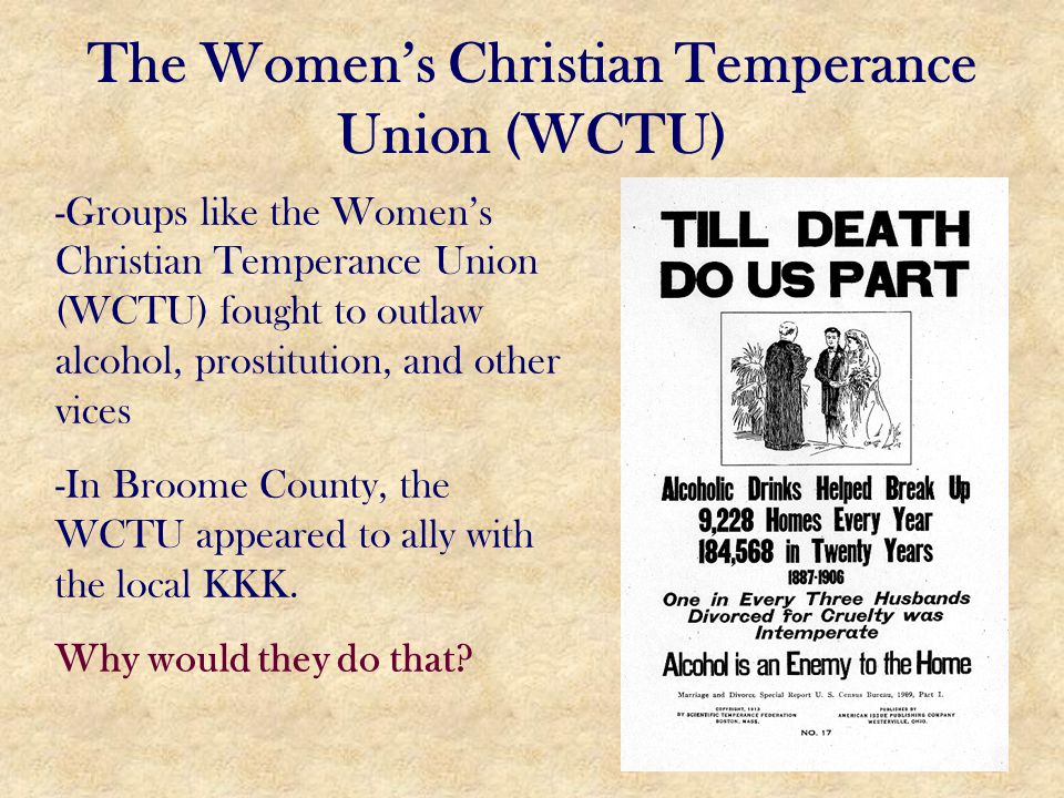 The Women's Christian Temperance Union (WCTU)
