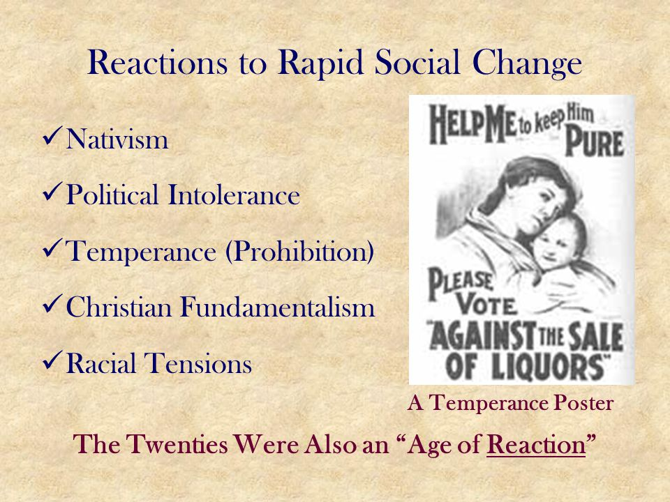 Reactions to Rapid Social Change