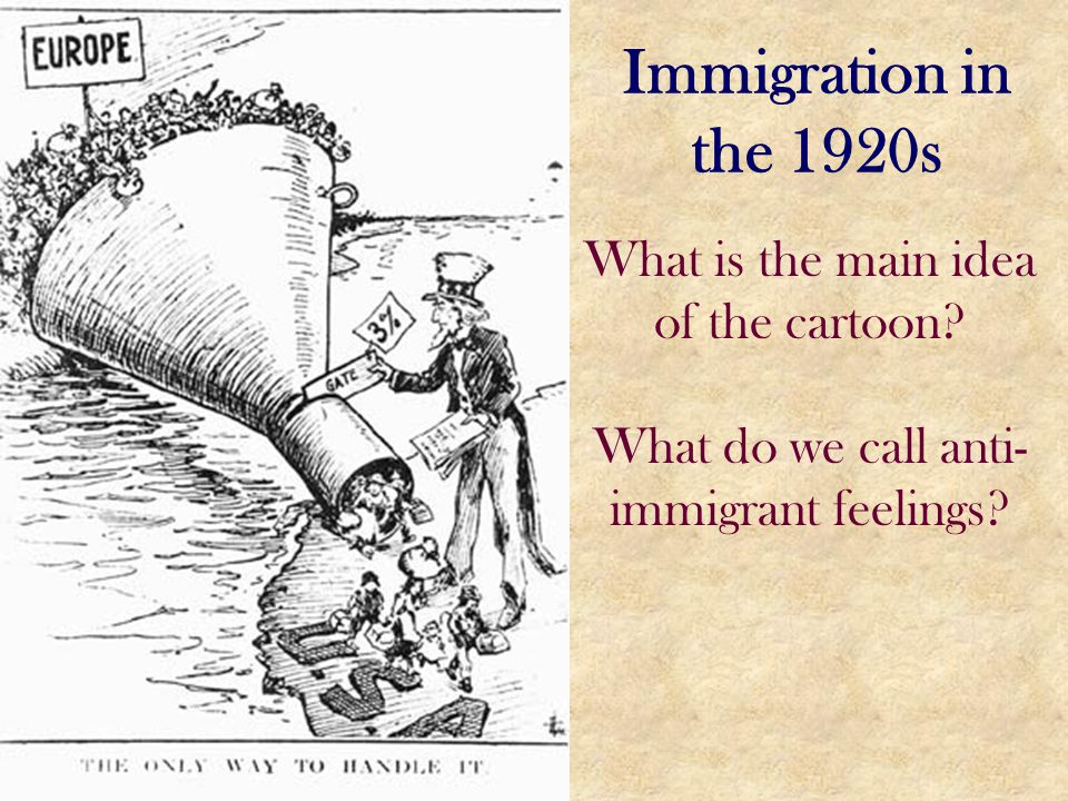 Immigration in the 1920s What is the main idea of the cartoon