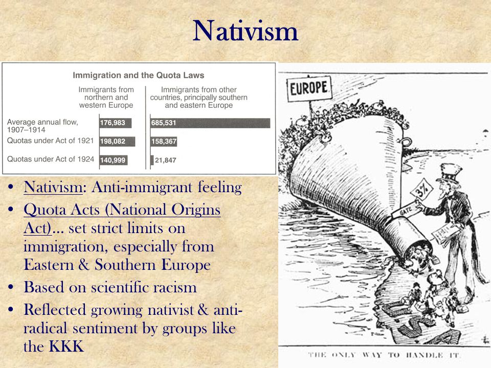 Nativism Nativism: Anti-immigrant feeling