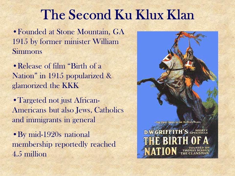 The Second Ku Klux Klan Founded at Stone Mountain, GA 1915 by former minister William Simmons.