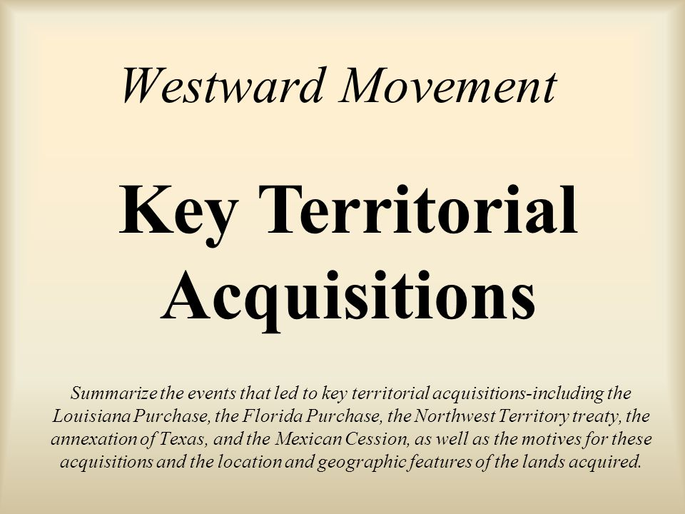 Key Territorial Acquisitions