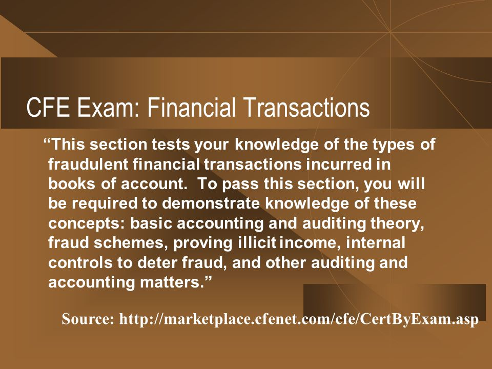 CFE Exam: Financial Transactions