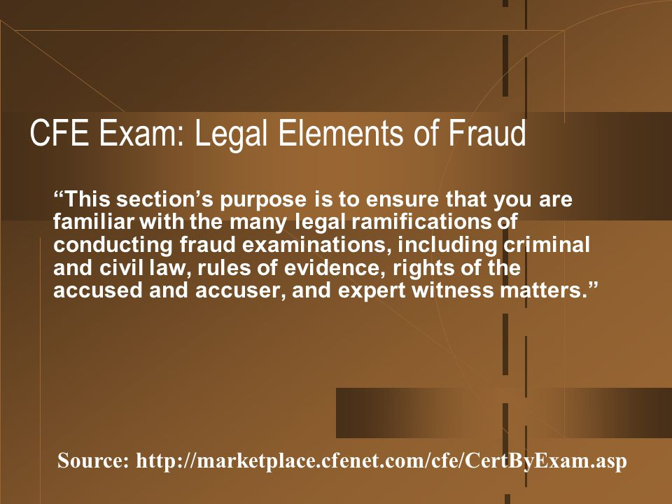 CFE Exam: Legal Elements of Fraud