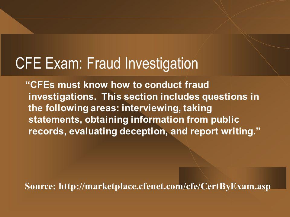 CFE Exam: Fraud Investigation