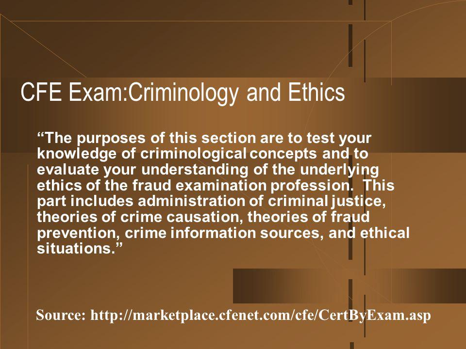 CFE Exam:Criminology and Ethics