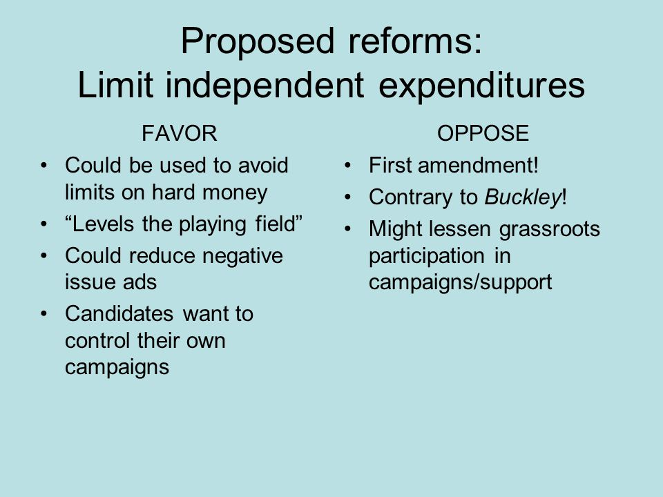 Proposed reforms: Limit independent expenditures