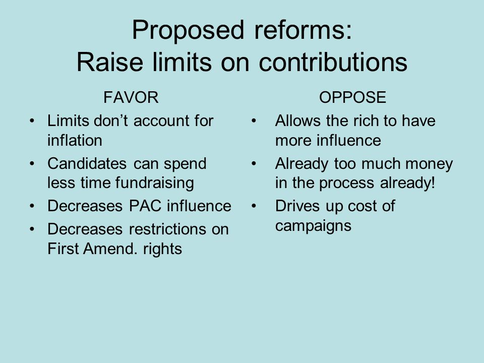 Proposed reforms: Raise limits on contributions