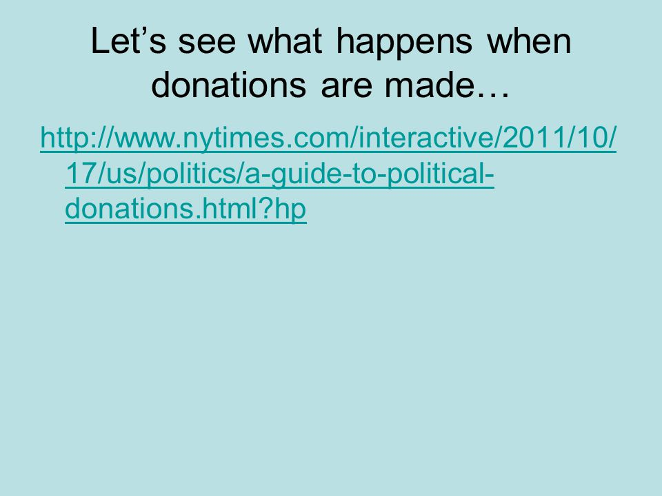 Let's see what happens when donations are made…