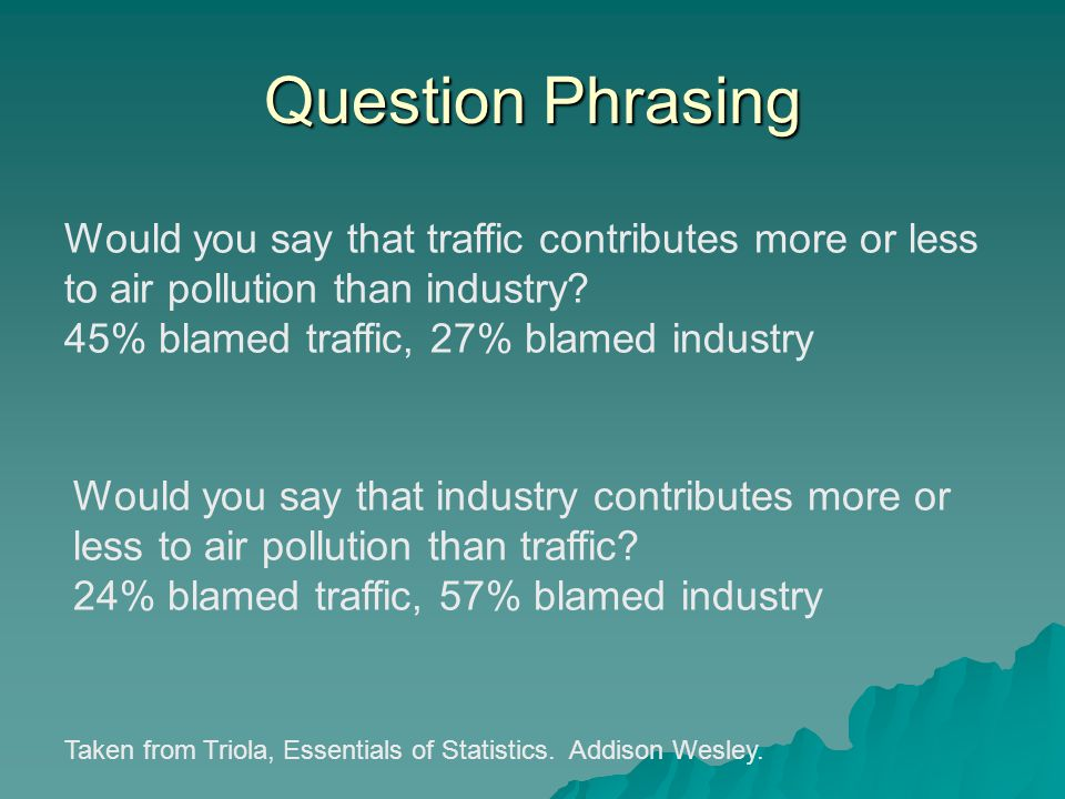 Question Phrasing Would you say that traffic contributes more or less to air pollution than industry