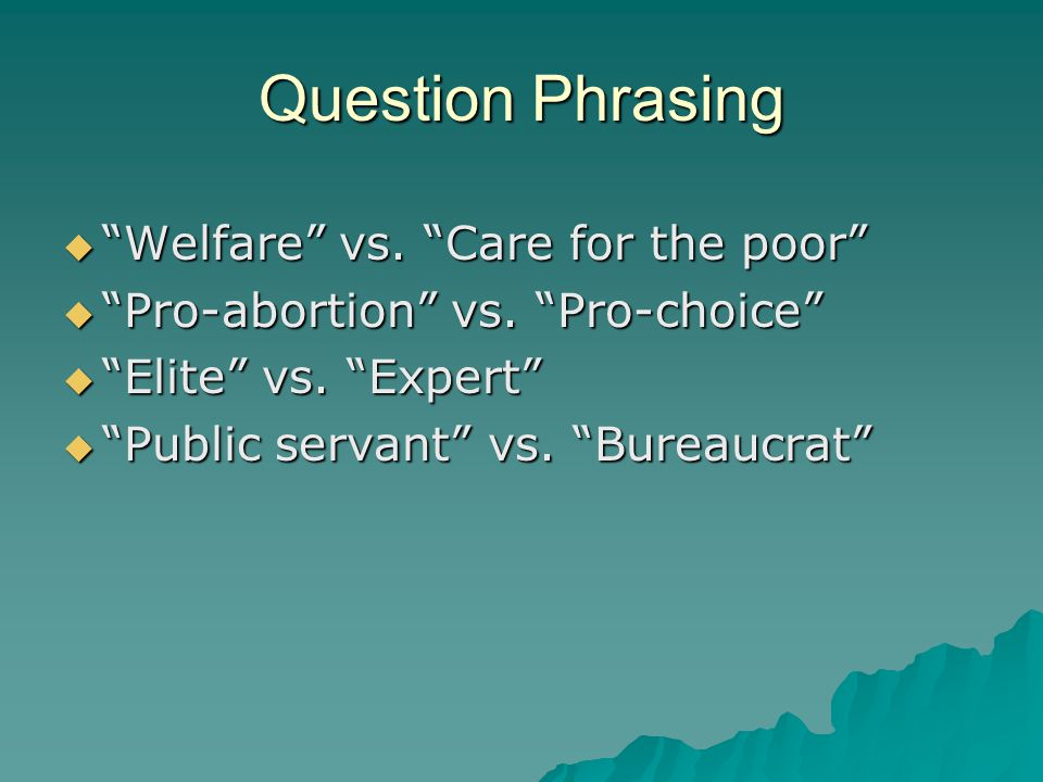 Question Phrasing Welfare vs. Care for the poor