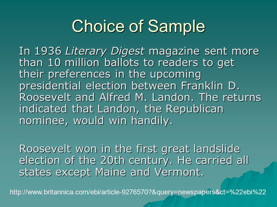 Choice of Sample