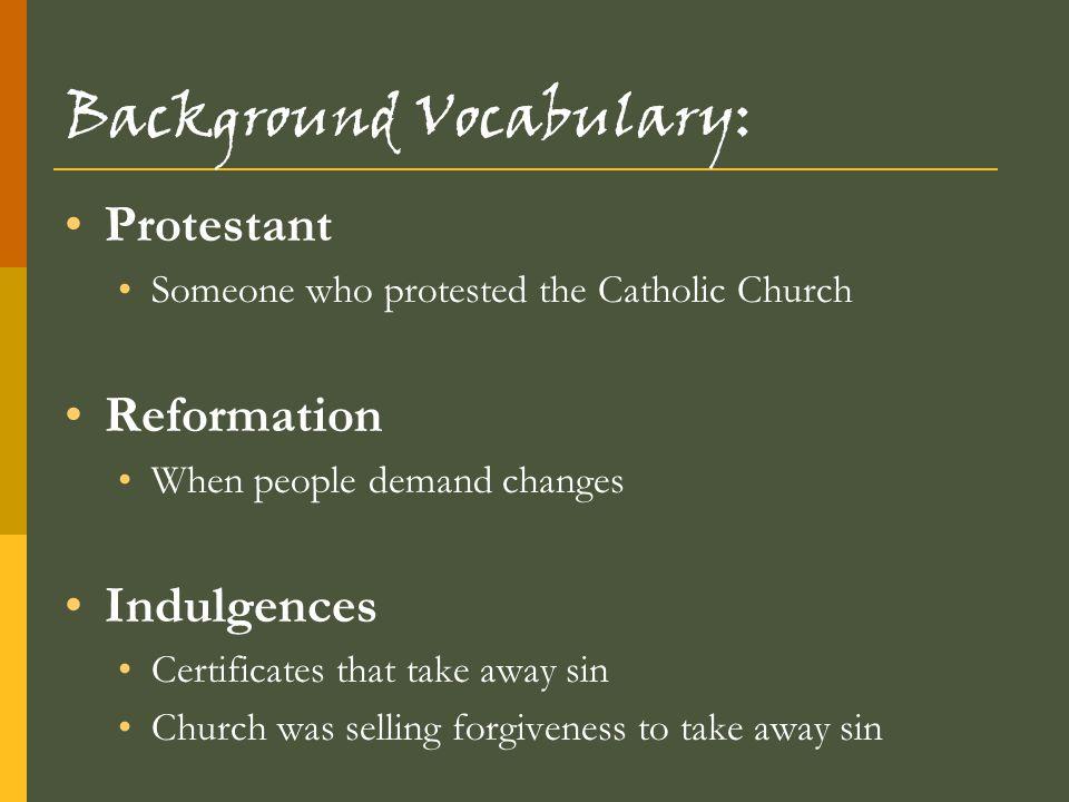 Background Vocabulary: