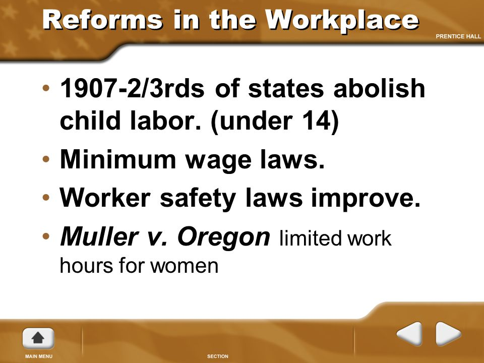 Reforms in the Workplace