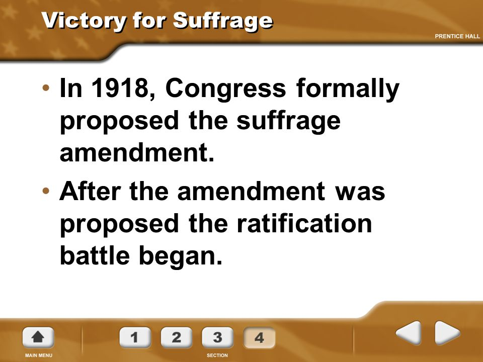 In 1918, Congress formally proposed the suffrage amendment.