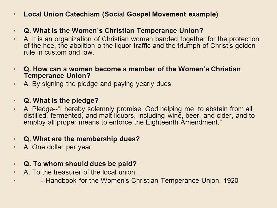 Local Union Catechism (Social Gospel Movement example)