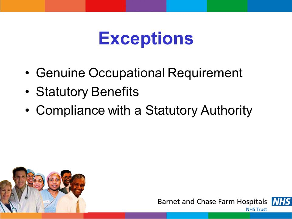 Exceptions Genuine Occupational Requirement Statutory Benefits