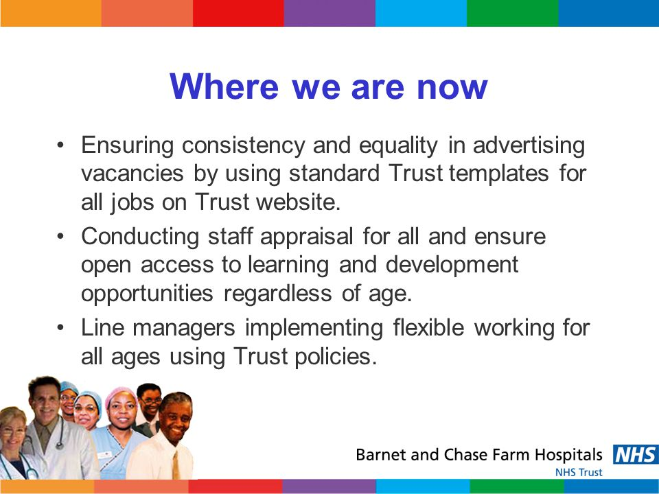 Where we are now Ensuring consistency and equality in advertising vacancies by using standard Trust templates for all jobs on Trust website.