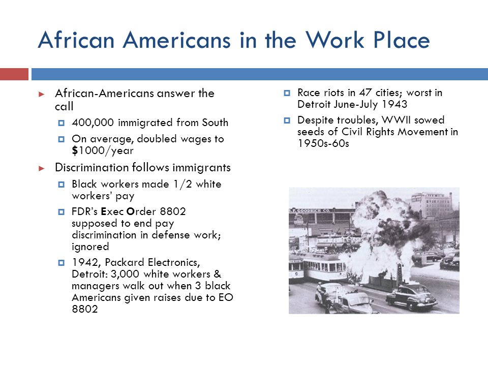 African Americans in the Work Place