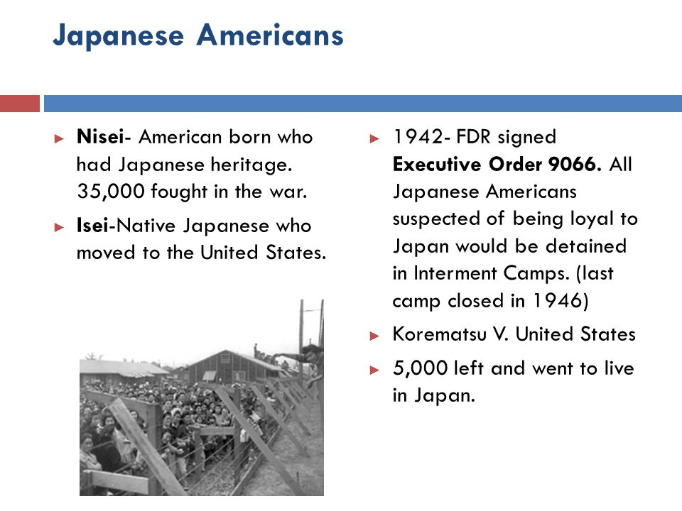 Japanese Americans Nisei- American born who had Japanese heritage. 35,000 fought in the war. Isei-Native Japanese who moved to the United States.