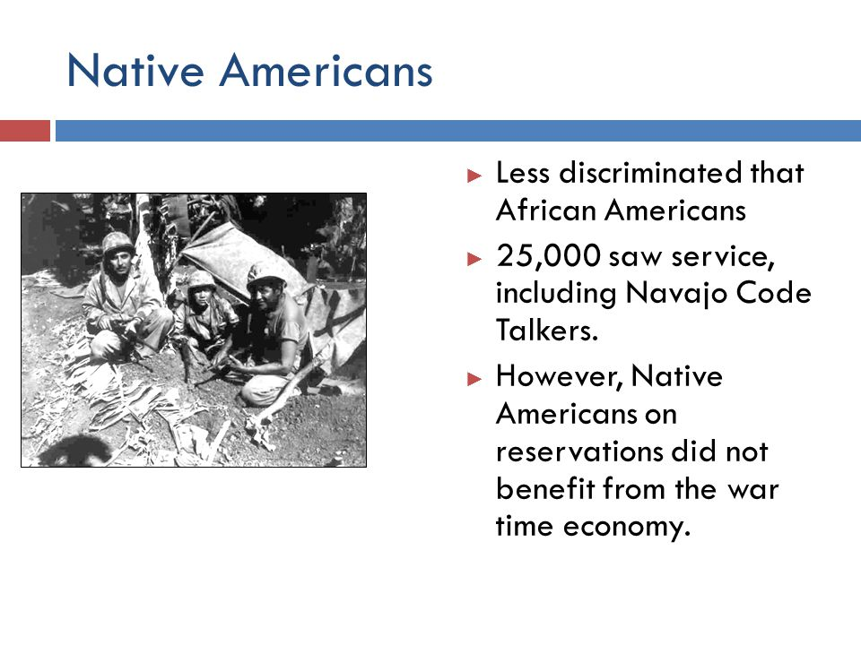 Native Americans Less discriminated that African Americans