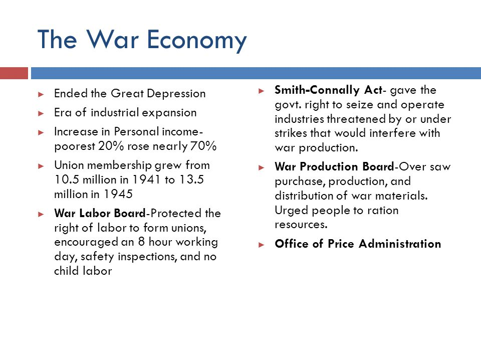 The War Economy