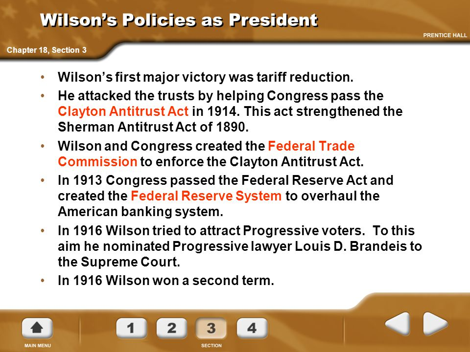Wilson's Policies as President