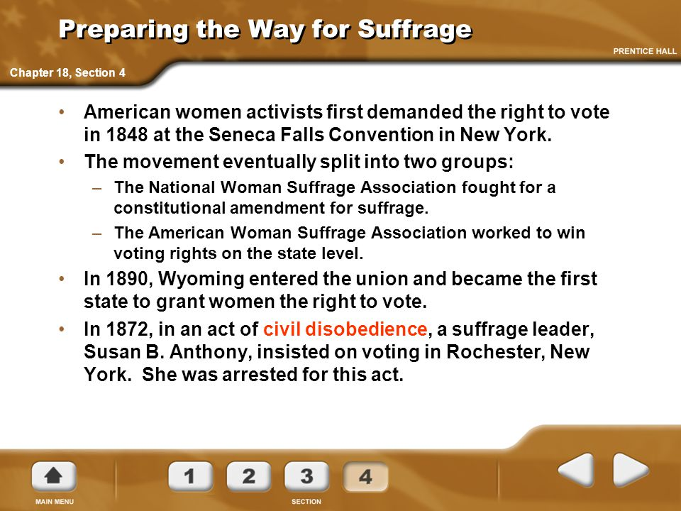 Preparing the Way for Suffrage