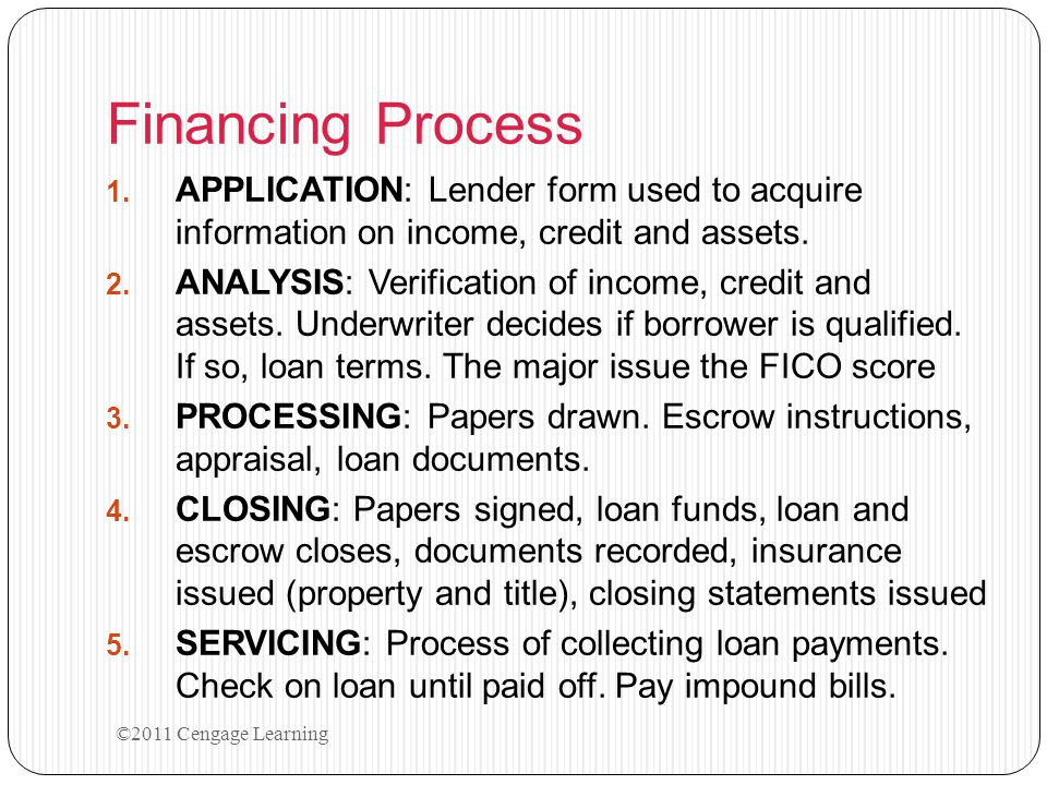 Financing Process APPLICATION: Lender form used to acquire information on income, credit and assets.