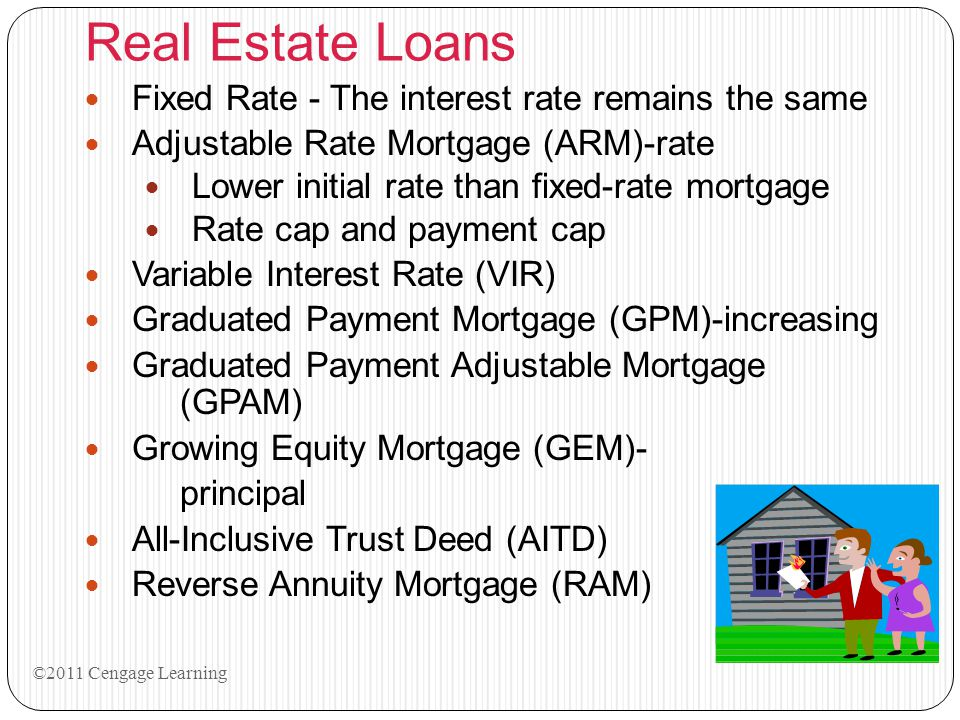 Real Estate Loans Fixed Rate - The interest rate remains the same