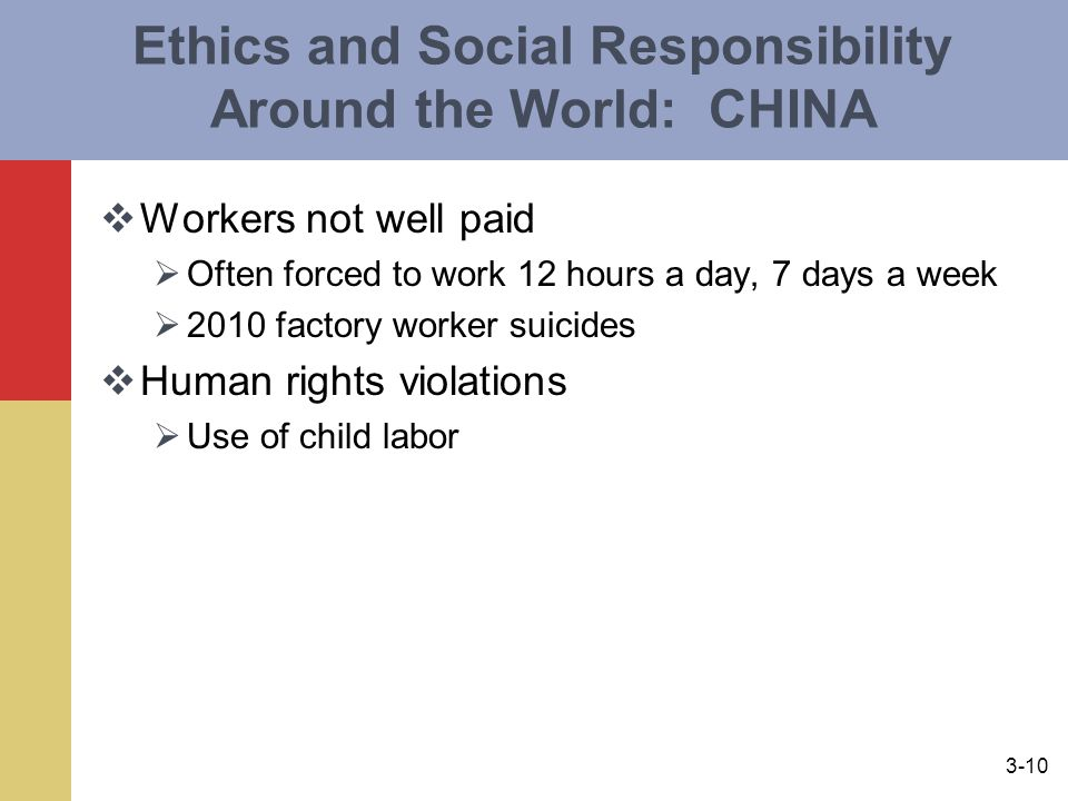 Ethics and Social Responsibility Around the World: CHINA