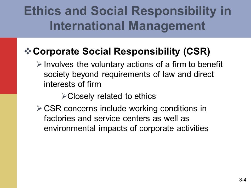 Ethics and Social Responsibility in International Management