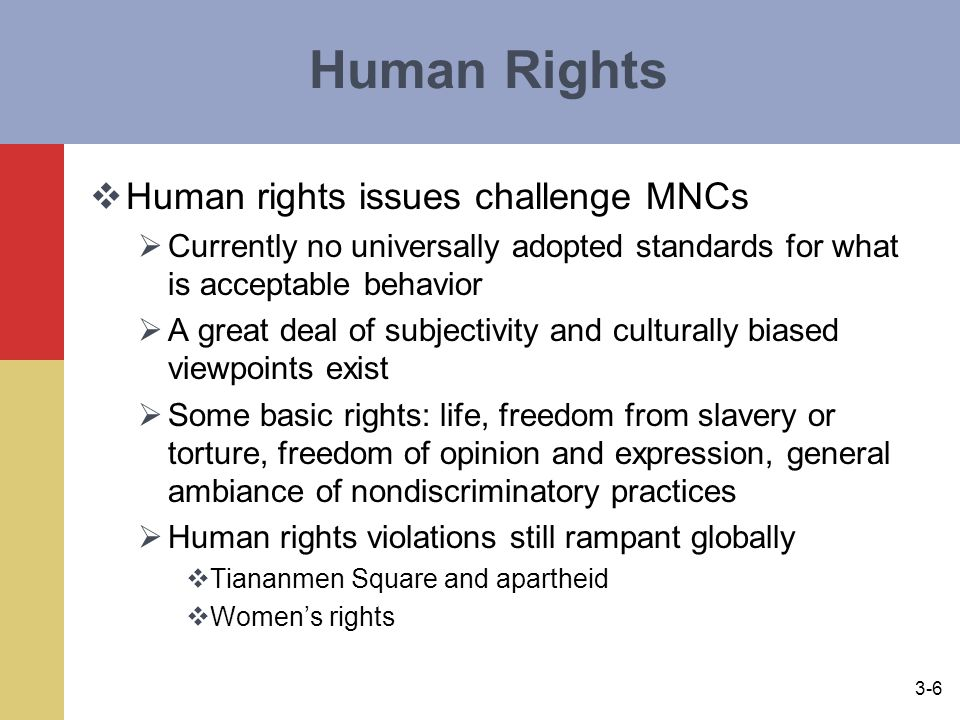 Human Rights Human rights issues challenge MNCs