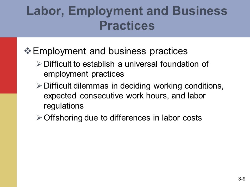 Labor, Employment and Business Practices