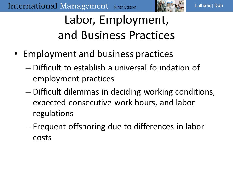 Labor, Employment, and Business Practices