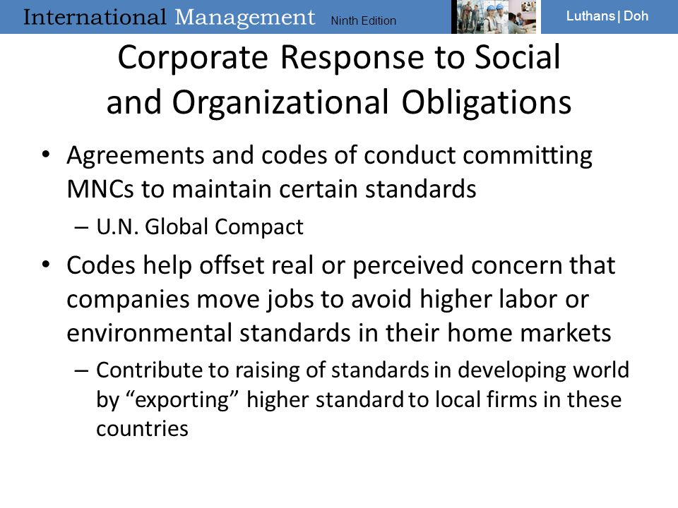 Corporate Response to Social and Organizational Obligations