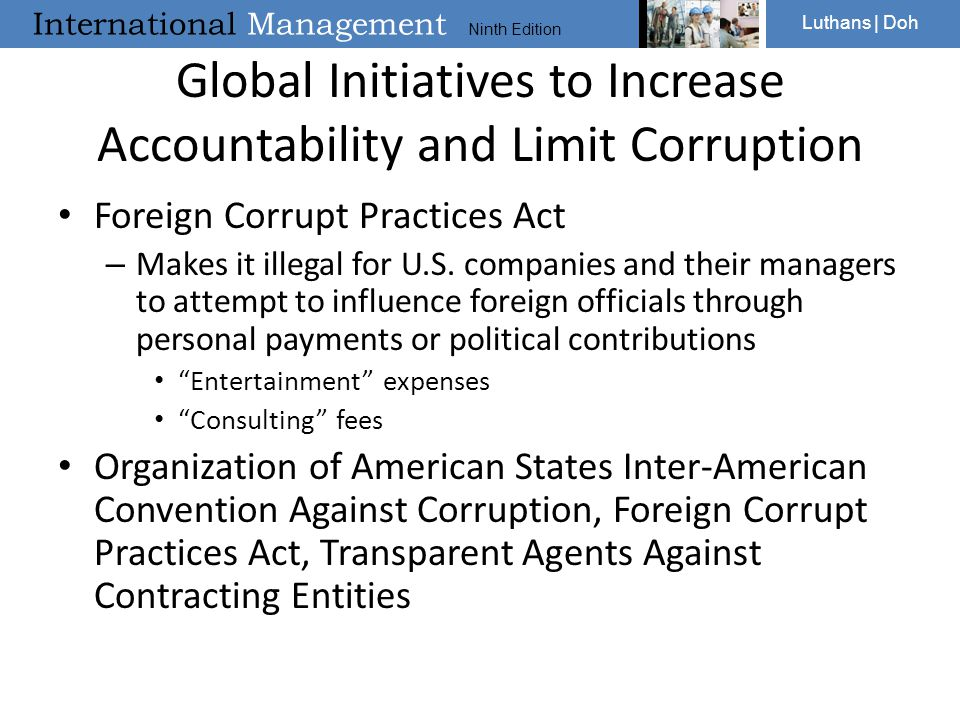 Global Initiatives to Increase Accountability and Limit Corruption