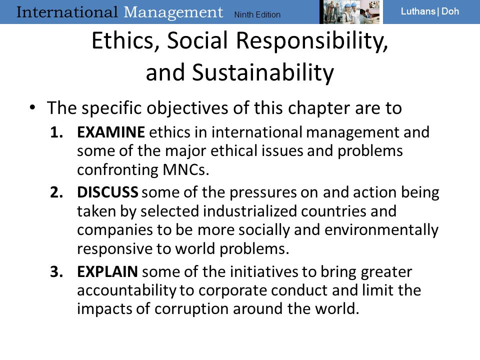 Ethics, Social Responsibility, and Sustainability