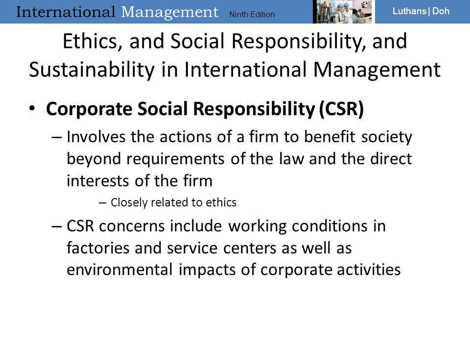 Ethics, and Social Responsibility, and Sustainability in International Management