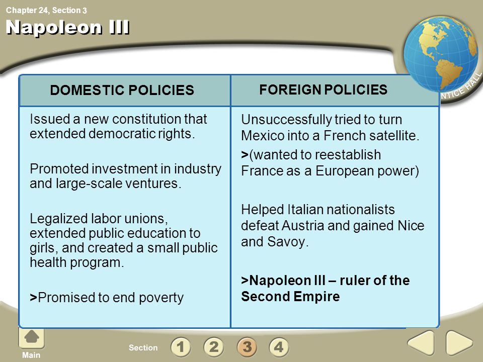Napoleon III DOMESTIC POLICIES FOREIGN POLICIES