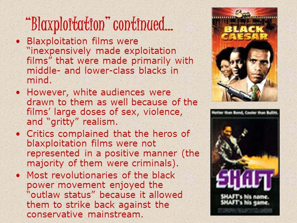 Blaxploitation continued…