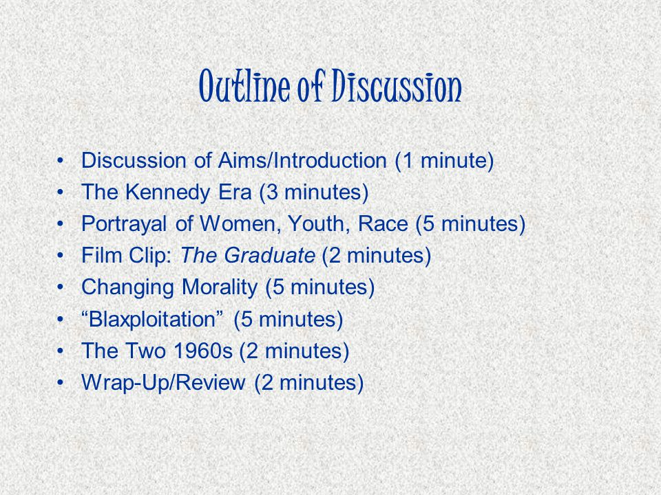 Outline of Discussion Discussion of Aims/Introduction (1 minute)