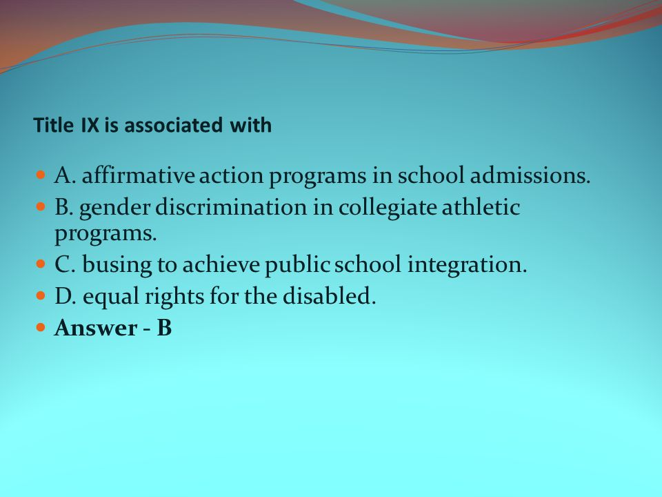 Title IX is associated with