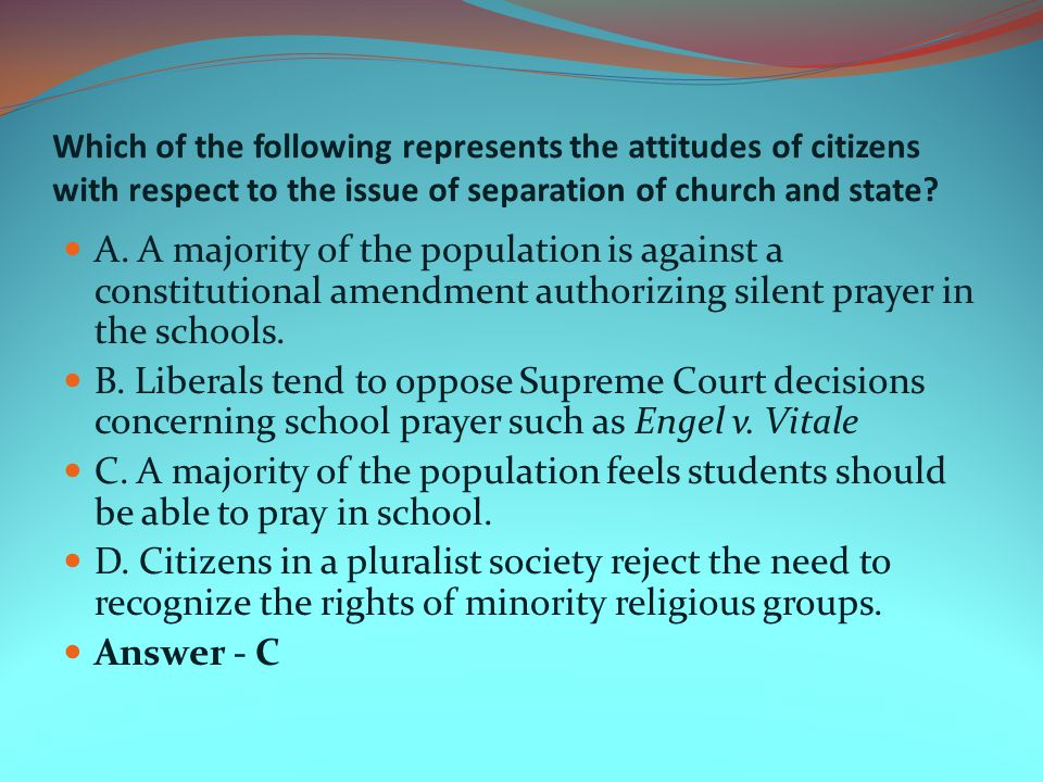Which of the following represents the attitudes of citizens with respect to the issue of separation of church and state