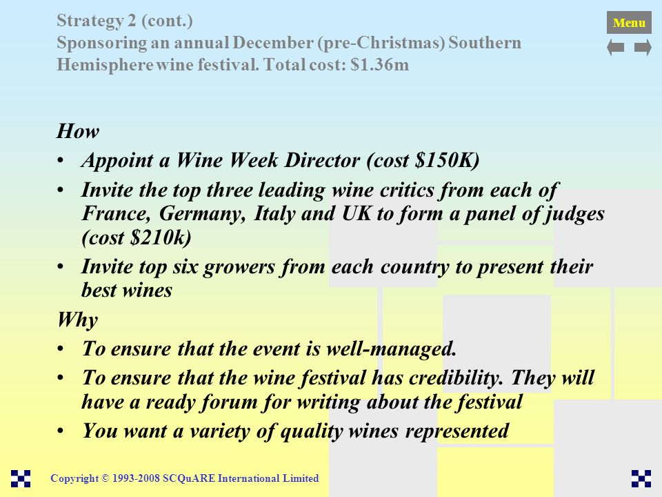 Appoint a Wine Week Director (cost $150K)