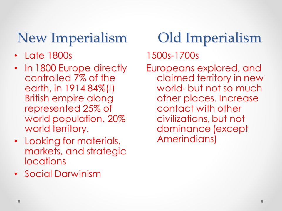 New Imperialism Old Imperialism
