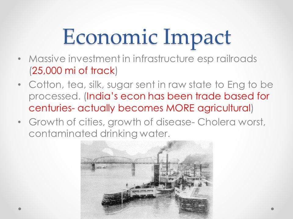 Economic Impact Massive investment in infrastructure esp railroads (25,000 mi of track)