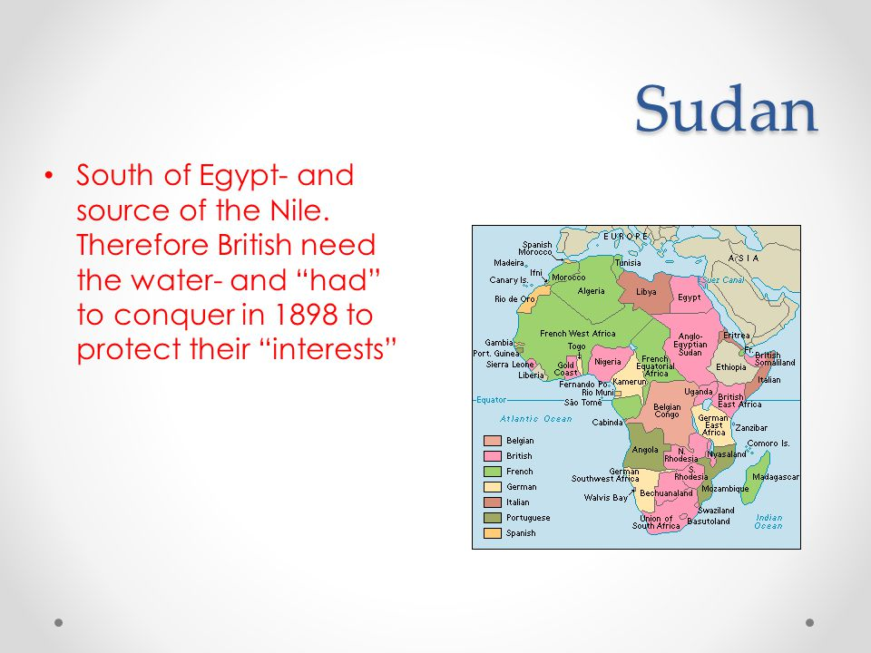 Sudan South of Egypt- and source of the Nile.