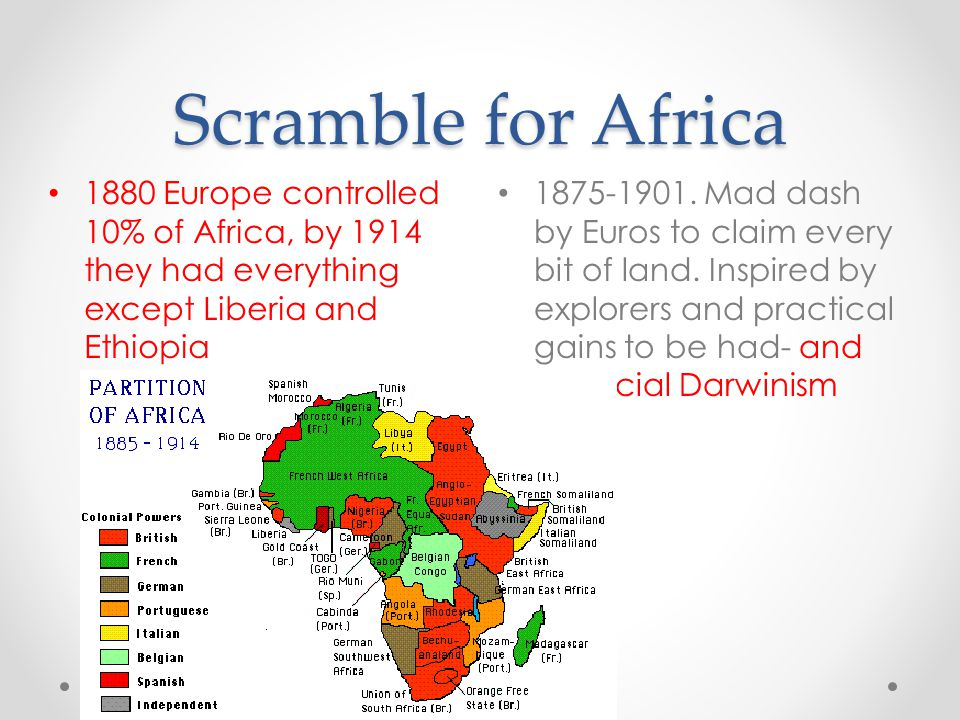 Scramble for Africa 1880 Europe controlled 10% of Africa, by 1914 they had everything except Liberia and Ethiopia.